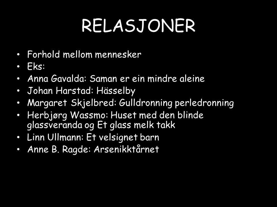 RELASJONER • Forhold mellom mennesker • Eks: • Anna Gavalda: Saman er ein mindre aleine • Johan Harstad: Hässelby • Margaret Skjelbred: Gulldronning p