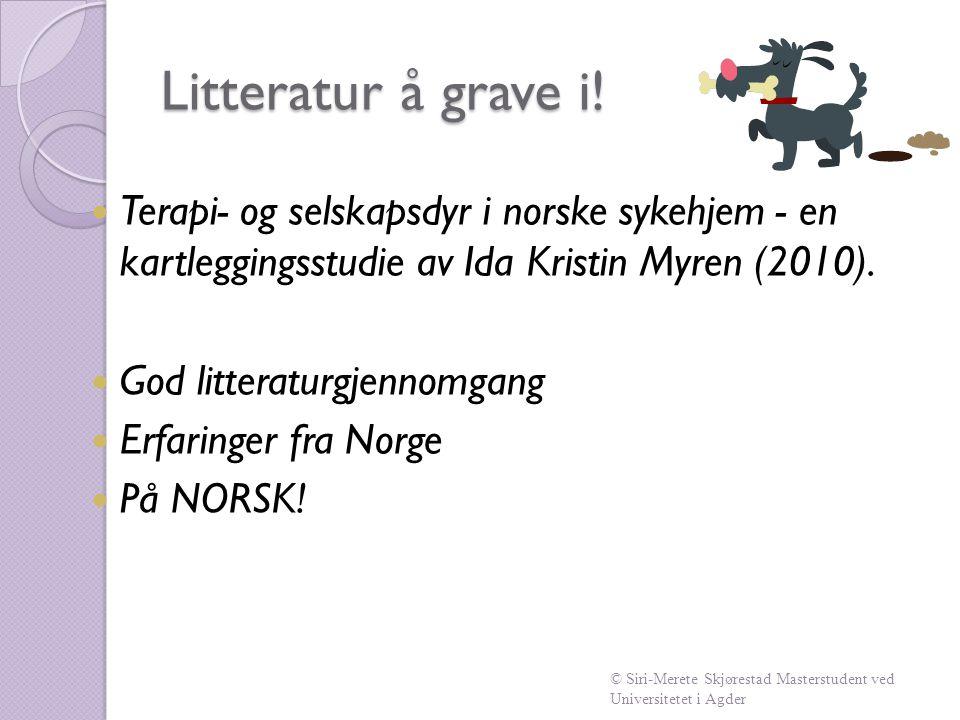 Litteratur å grave i!  Terapi- og selskapsdyr i norske sykehjem - en kartleggingsstudie av Ida Kristin Myren (2010).  God litteraturgjennomgang  Er