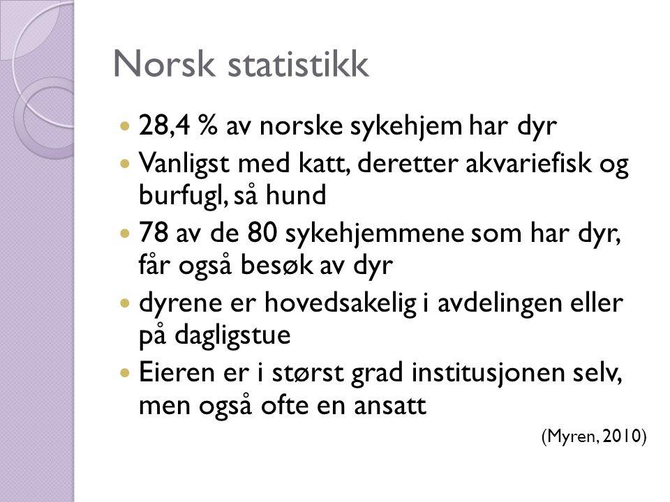 Norsk statistikk  28,4 % av norske sykehjem har dyr  Vanligst med katt, deretter akvariefisk og burfugl, så hund  78 av de 80 sykehjemmene som har dyr, får også besøk av dyr  dyrene er hovedsakelig i avdelingen eller på dagligstue  Eieren er i størst grad institusjonen selv, men også ofte en ansatt (Myren, 2010)