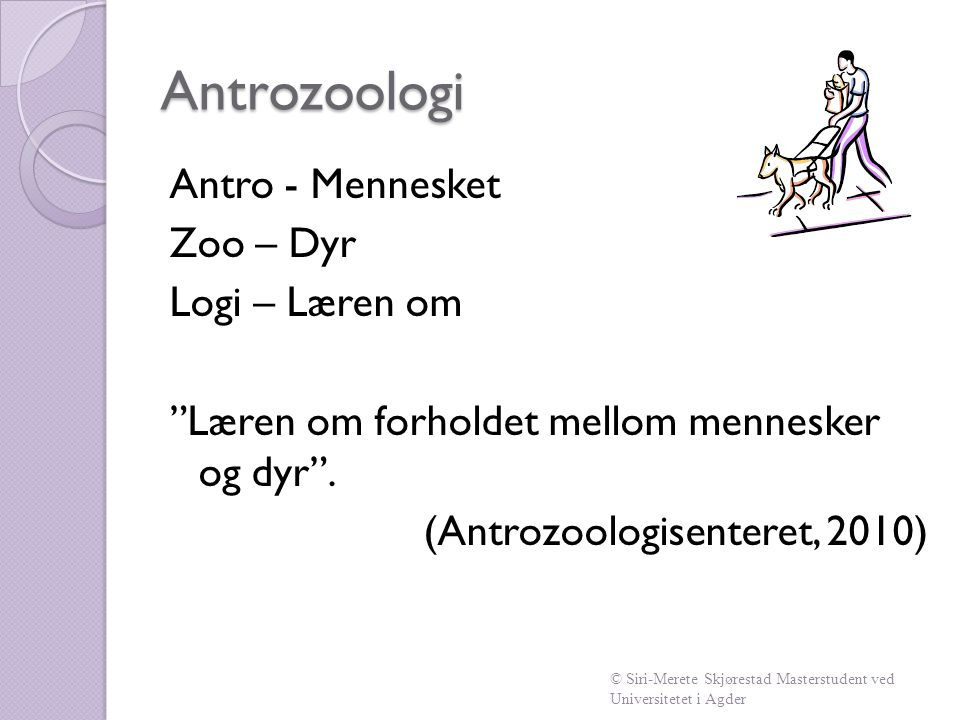 """Antrozoologi Antro - Mennesket Zoo – Dyr Logi – Læren om """"Læren om forholdet mellom mennesker og dyr"""". (Antrozoologisenteret, 2010) © Siri-Merete Skjø"""