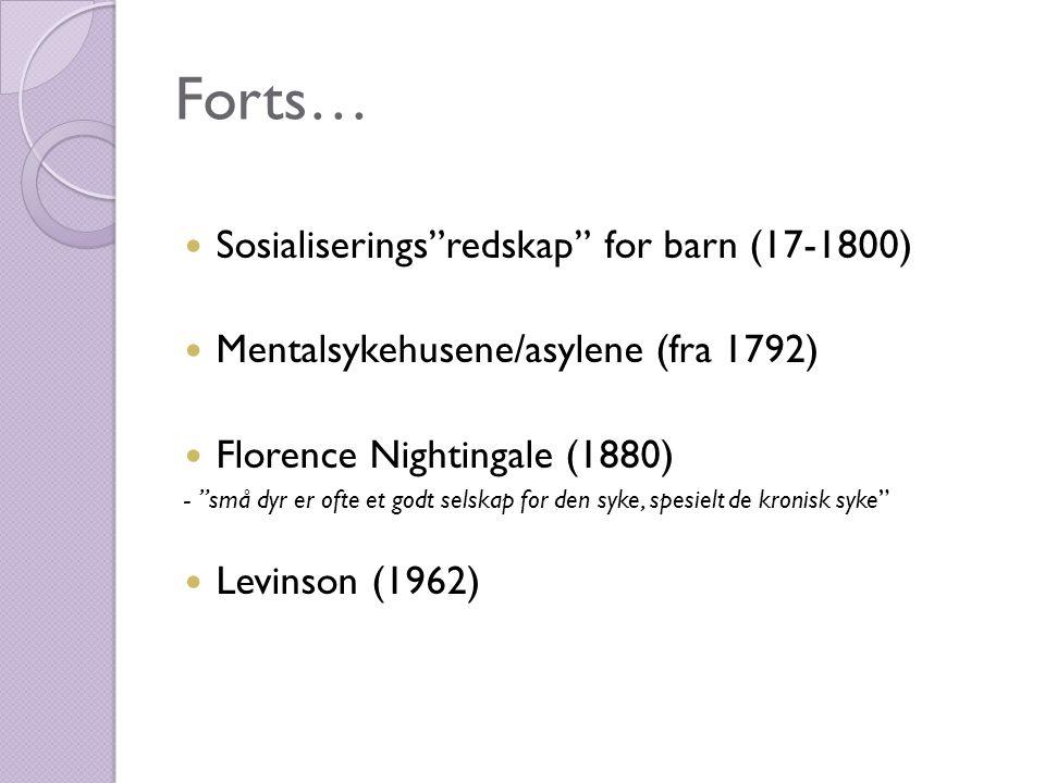 Forts…  Sosialiserings redskap for barn (17-1800)  Mentalsykehusene/asylene (fra 1792)  Florence Nightingale (1880) - små dyr er ofte et godt selskap for den syke, spesielt de kronisk syke  Levinson (1962)