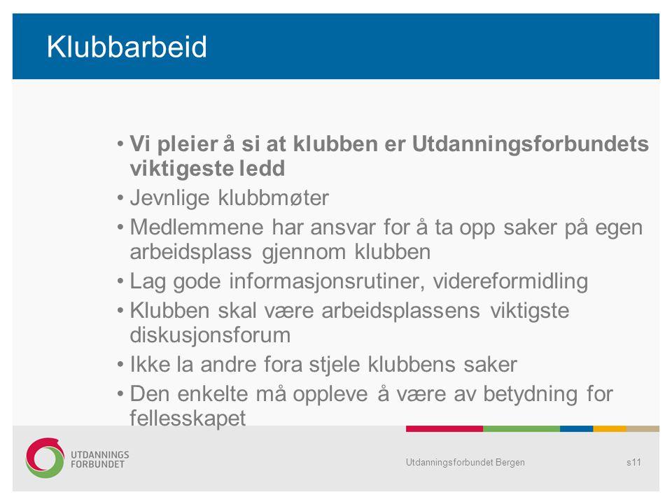 Utdanningsforbundet Bergens11 Klubbarbeid •Vi pleier å si at klubben er Utdanningsforbundets viktigeste ledd •Jevnlige klubbmøter •Medlemmene har ansv