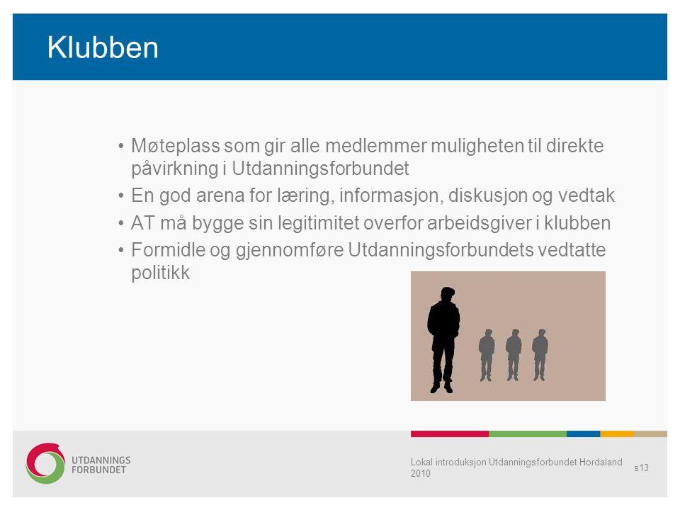 Lokal introduksjon Utdanningsforbundet Hordaland 2010 s13 Klubben •Møteplass som gir alle medlemmer muligheten til direkte påvirkning i Utdanningsforb