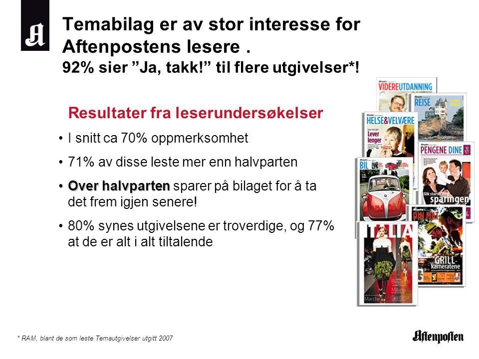 Temabilag er av stor interesse for Aftenpostens lesere.