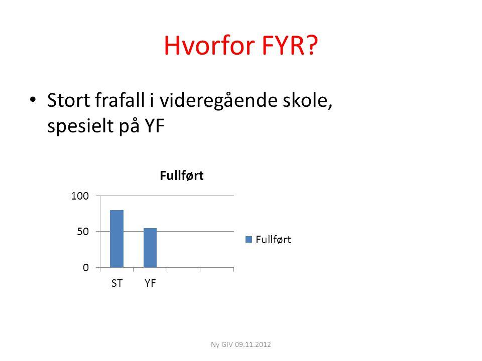 Hvorfor FYR? • Stort frafall i videregående skole, spesielt på YF Ny GIV 09.11.2012