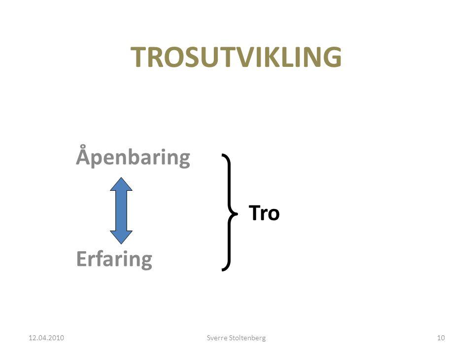 TROSUTVIKLING Åpenbaring Erfaring 12.04.2010Sverre Stoltenberg10 Tro