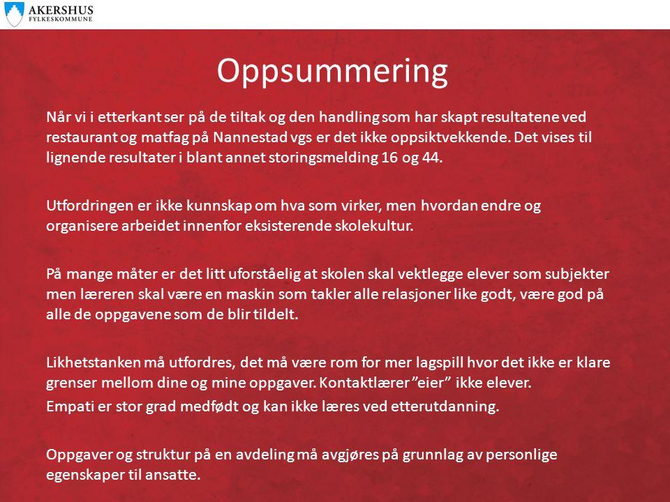 Oppsummering Når vi i etterkant ser på de tiltak og den handling som har skapt resultatene ved restaurant og matfag på Nannestad vgs er det ikke oppsiktvekkende.