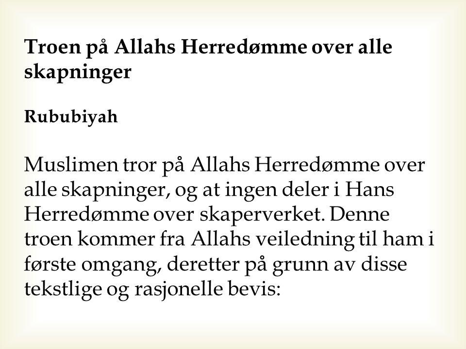 Troen på Allahs Herredømme over alle skapninger Rububiyah Muslimen tror på Allahs Herredømme over alle skapninger, og at ingen deler i Hans Herredømme
