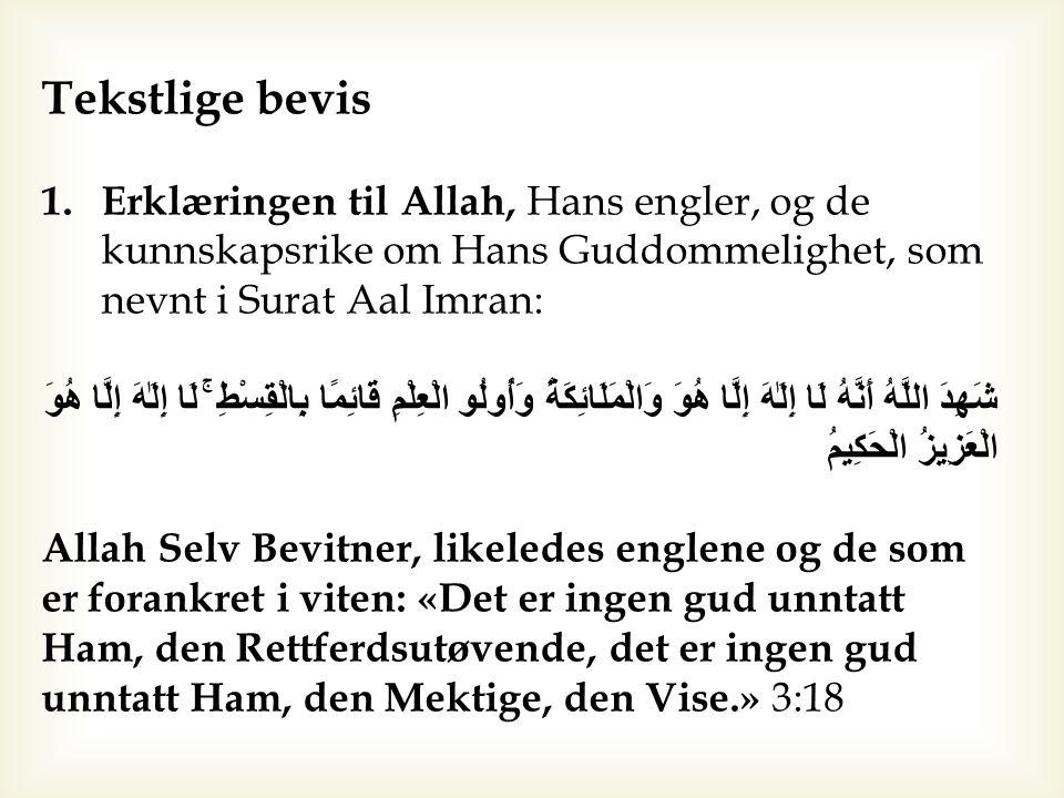 Tekstlige bevis 1.Erklæringen til Allah, Hans engler, og de kunnskapsrike om Hans Guddommelighet, som nevnt i Surat Aal Imran: شَهِدَ اللَّهُ أَنَّهُ