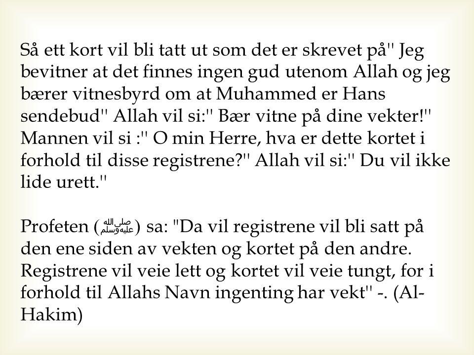 Så ett kort vil bli tatt ut som det er skrevet på'' Jeg bevitner at det finnes ingen gud utenom Allah og jeg bærer vitnesbyrd om at Muhammed er Hans s