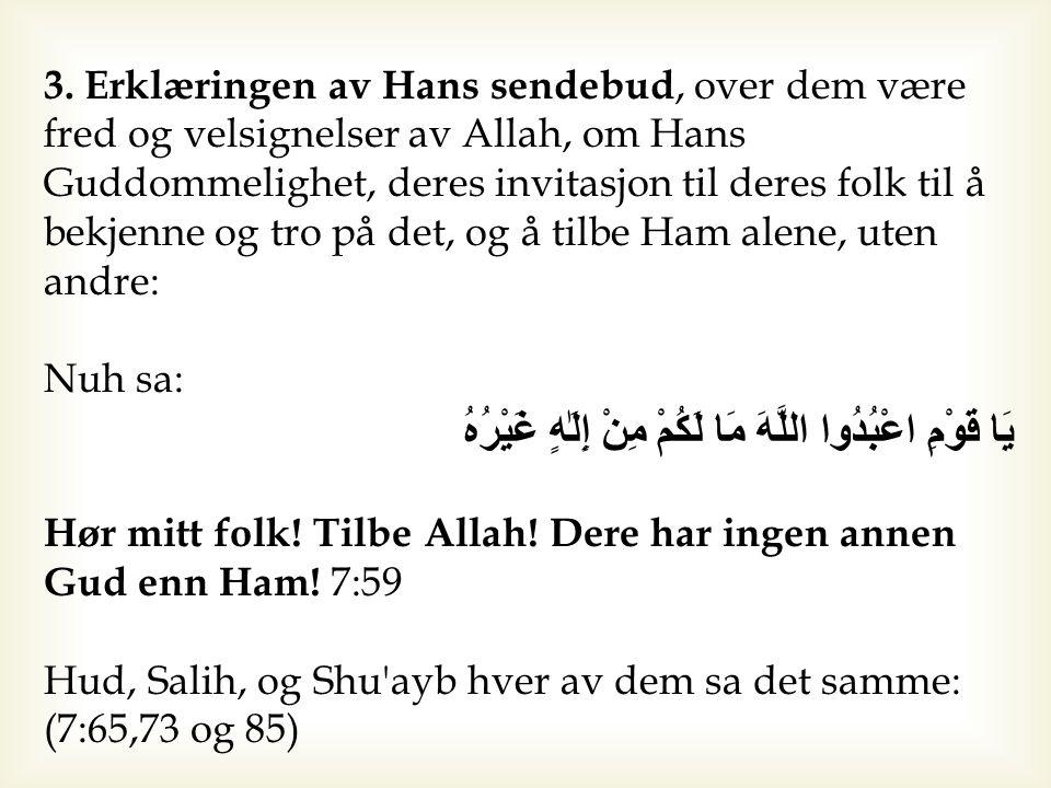 3. Erklæringen av Hans sendebud, over dem være fred og velsignelser av Allah, om Hans Guddommelighet, deres invitasjon til deres folk til å bekjenne o