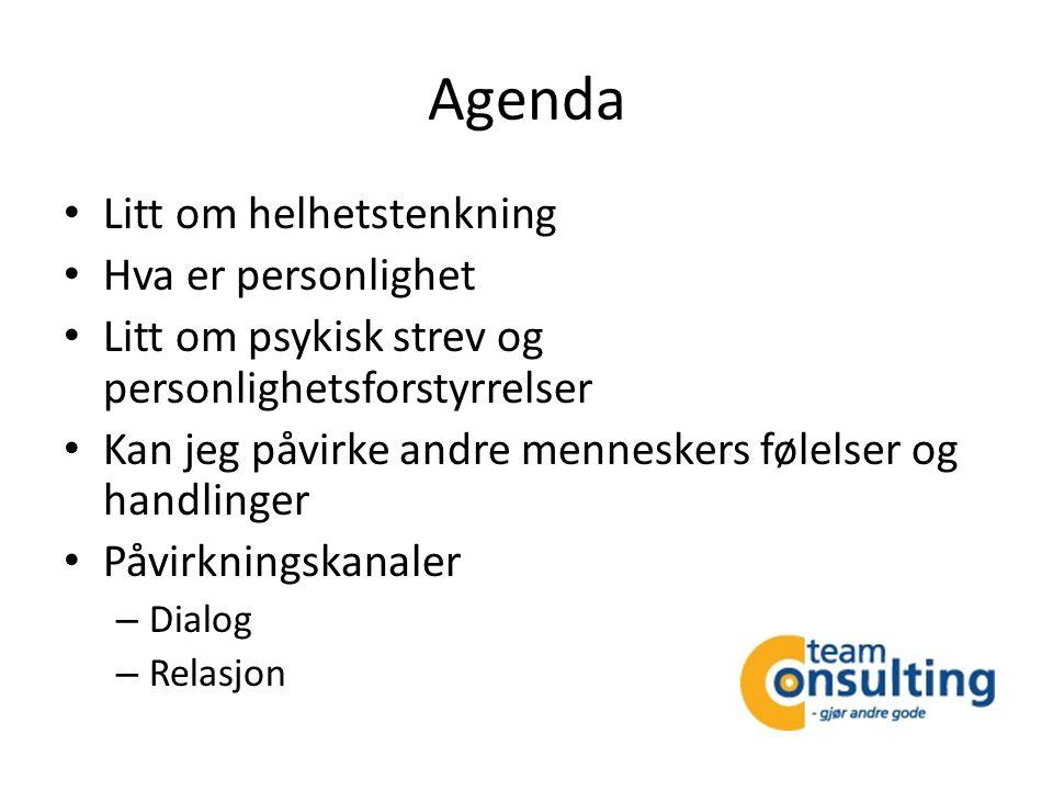 Agenda • Litt om helhetstenkning • Hva er personlighet • Litt om psykisk strev og personlighetsforstyrrelser • Kan jeg påvirke andre menneskers følels