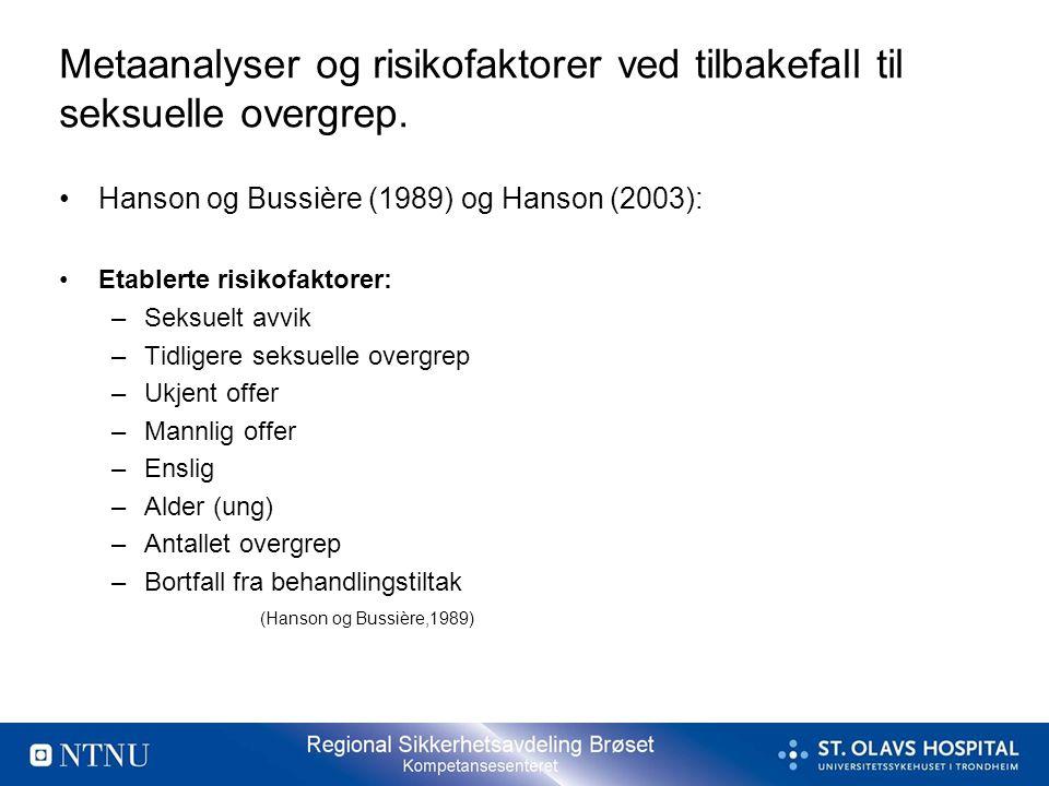 Metaanalyser og risikofaktorer ved tilbakefall til seksuelle overgrep. •Hanson og Bussière (1989) og Hanson (2003): •Etablerte risikofaktorer: –Seksue