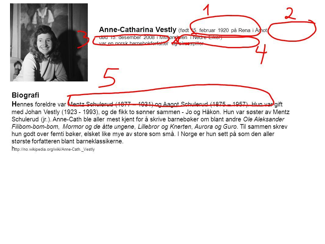 Biografi H ennes foreldre var Mentz Schulerud (1877 – 1931) og Aagot Schulerud (1875 – 1957). Hun var gift med Johan Vestly (1923 - 1993), og de fikk