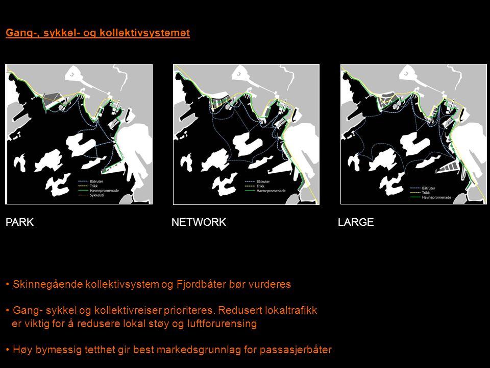 Gang-, sykkel- og kollektivsystemet • Skinnegående kollektivsystem og Fjordbåter bør vurderes • Gang- sykkel og kollektivreiser prioriteres. Redusert
