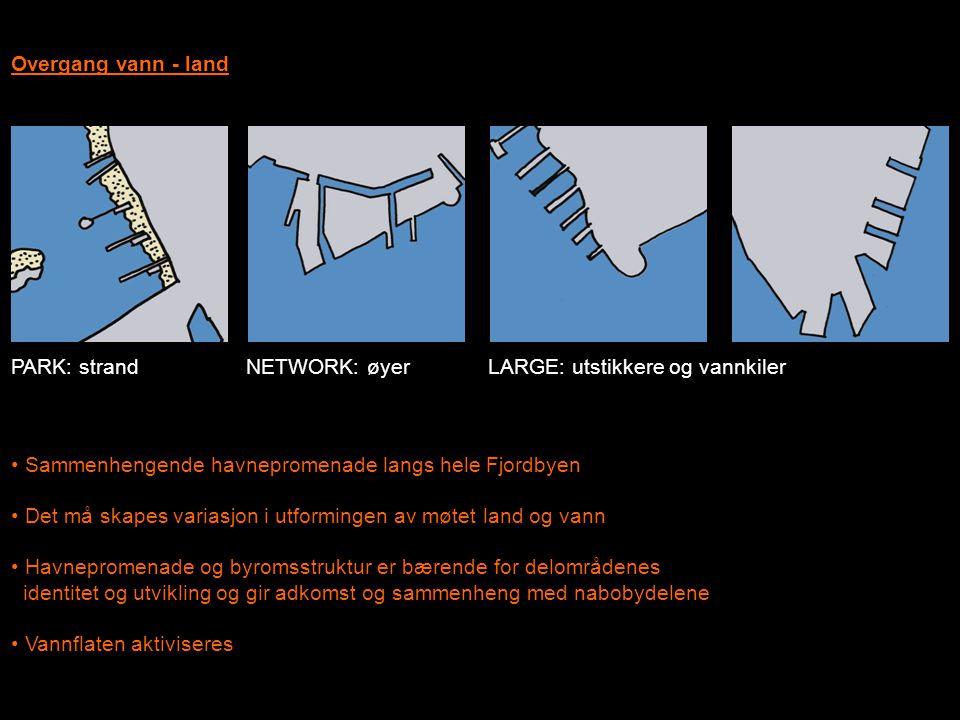 Overgang vann - land • Sammenhengende havnepromenade langs hele Fjordbyen • Det må skapes variasjon i utformingen av møtet land og vann • Havnepromena