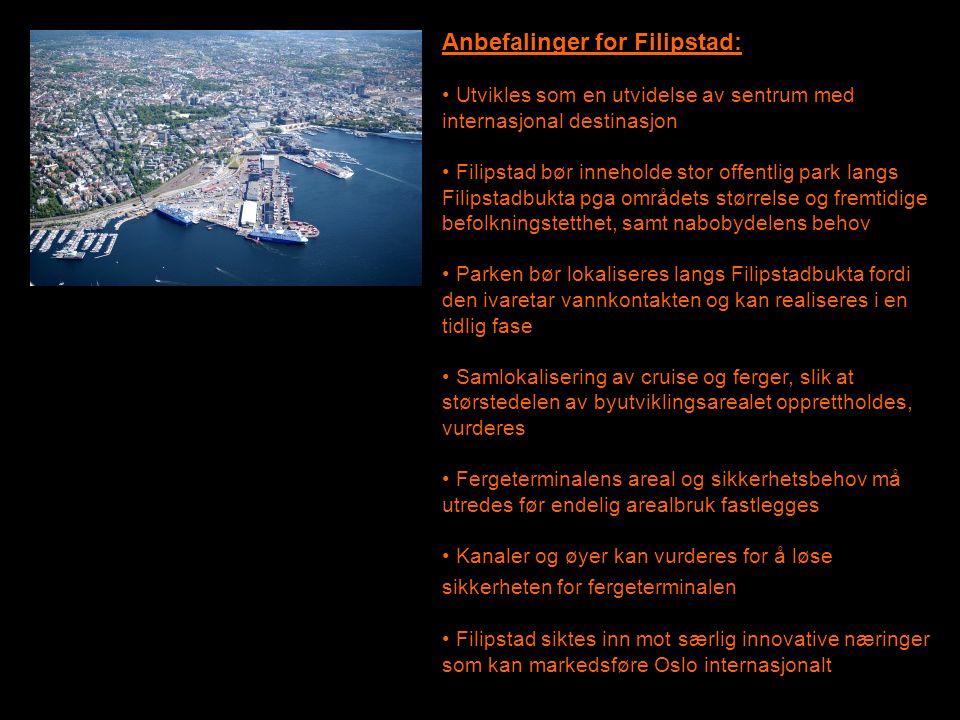 Anbefalinger for Filipstad: • Utvikles som en utvidelse av sentrum med internasjonal destinasjon • Filipstad bør inneholde stor offentlig park langs F