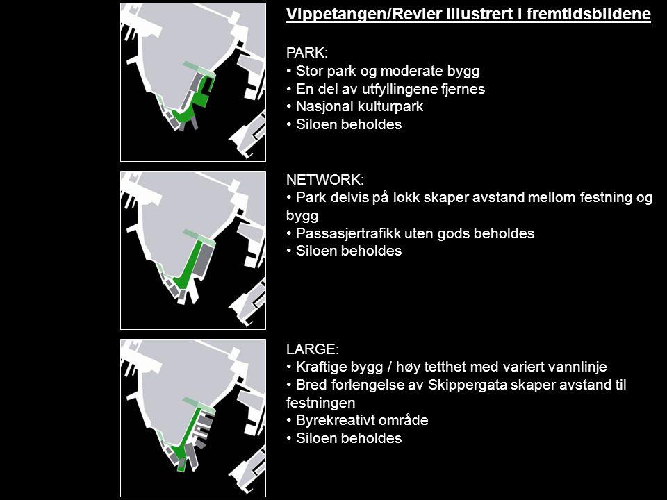 Vippetangen/Revier illustrert i fremtidsbildene PARK: • Stor park og moderate bygg • En del av utfyllingene fjernes • Nasjonal kulturpark • Siloen beh
