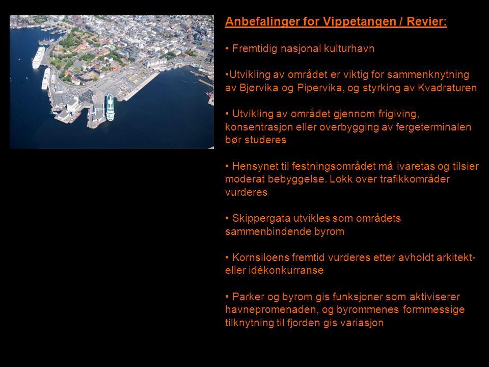 Anbefalinger for Vippetangen / Revier: • Fremtidig nasjonal kulturhavn •Utvikling av området er viktig for sammenknytning av Bjørvika og Pipervika, og