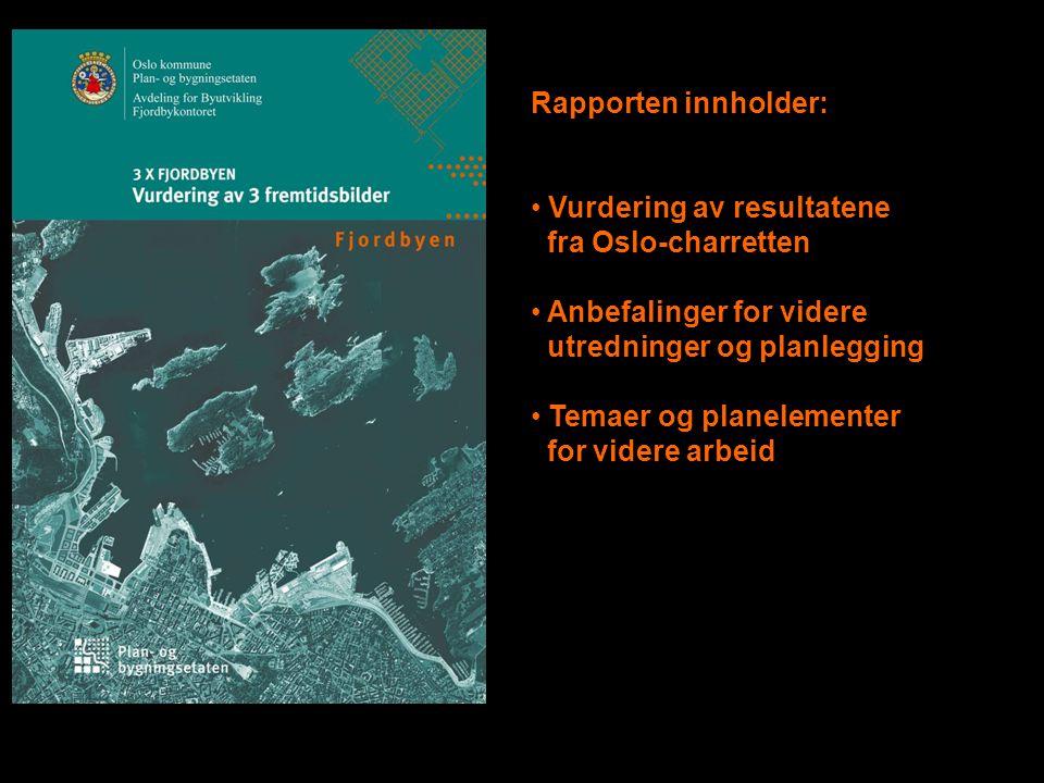 Rapporten innholder: • Vurdering av resultatene fra Oslo-charretten • Anbefalinger for videre utredninger og planlegging • Temaer og planelementer for