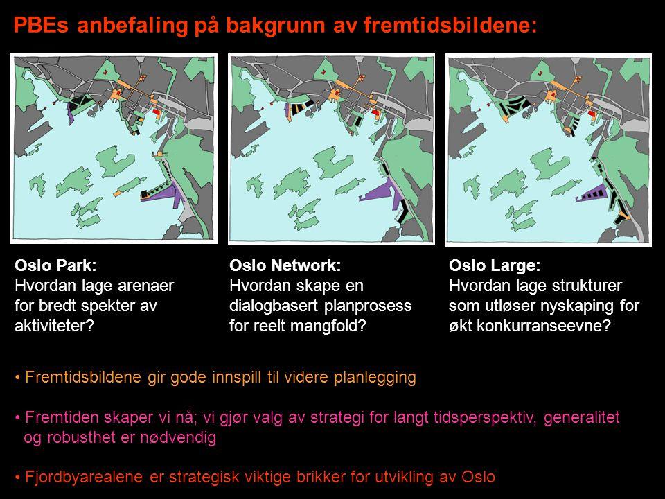 PBEs anbefaling på bakgrunn av fremtidsbildene: Oslo Park: Hvordan lage arenaer for bredt spekter av aktiviteter? Oslo Network: Hvordan skape en dialo
