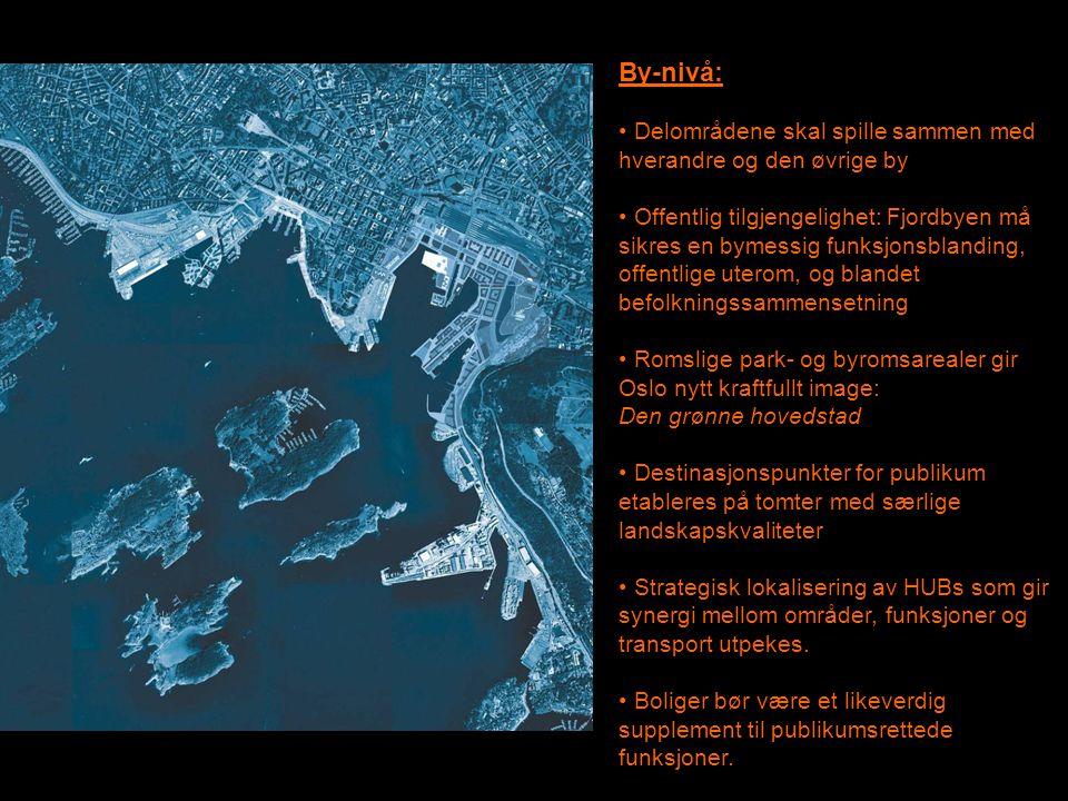 By-nivå: • Delområdene skal spille sammen med hverandre og den øvrige by • Offentlig tilgjengelighet: Fjordbyen må sikres en bymessig funksjonsblandin
