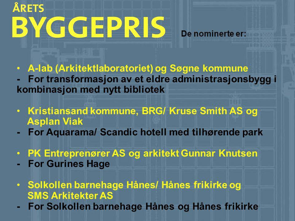 De nominerte er: •A-lab (Arkitektlaboratoriet) og Søgne kommune - For transformasjon av et eldre administrasjonsbygg i kombinasjon med nytt bibliotek