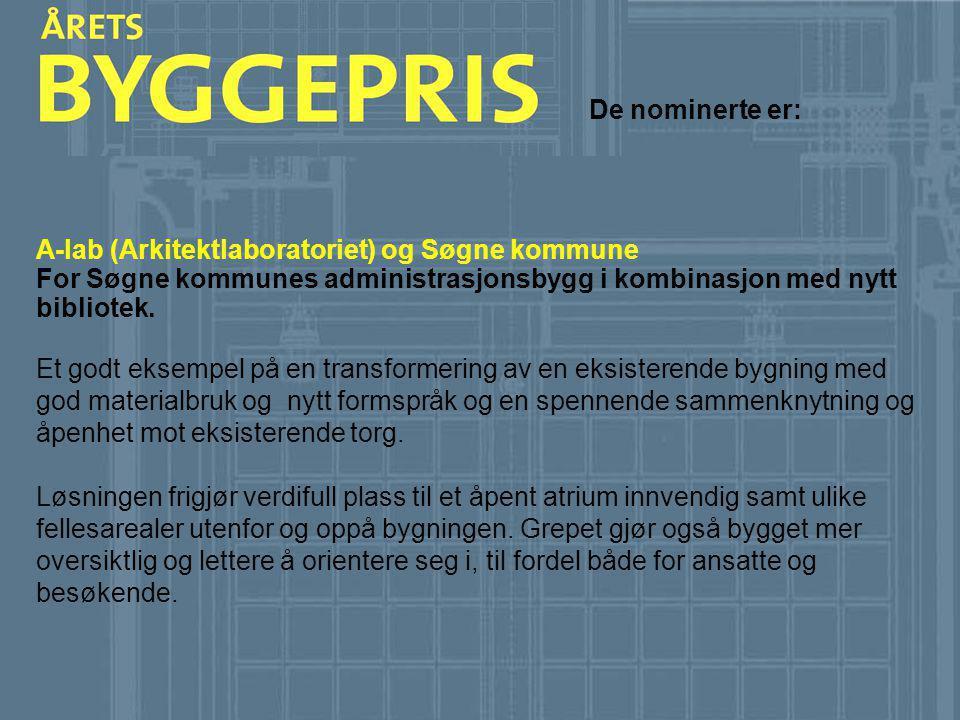 De nominerte er: A-lab (Arkitektlaboratoriet) og Søgne kommune For Søgne kommunes administrasjonsbygg i kombinasjon med nytt bibliotek. Et godt eksemp