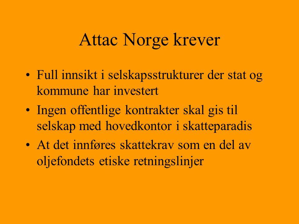 Attac Norge krever •Full innsikt i selskapsstrukturer der stat og kommune har investert •Ingen offentlige kontrakter skal gis til selskap med hovedkon
