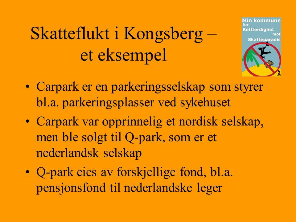 Skatteflukt i Kongsberg – et eksempel •Carpark er en parkeringsselskap som styrer bl.a. parkeringsplasser ved sykehuset •Carpark var opprinnelig et no