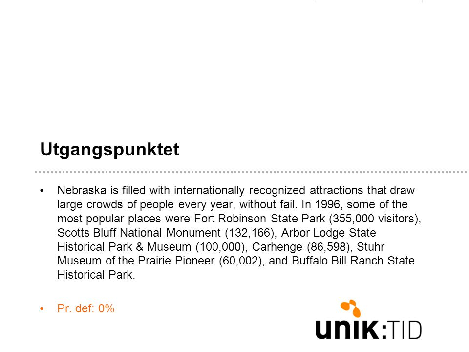 Utgangspunktet •Nebraska is filled with internationally recognized attractions that draw large crowds of people every year, without fail.