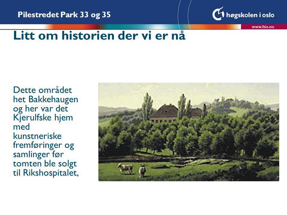 Pilestredet Park 33 og 35 Litt om historien der vi er nå Dette området het Bakkehaugen og her var det Kjerulfske hjem med kunstneriske fremføringer og samlinger før tomten ble solgt til Rikshospitalet,