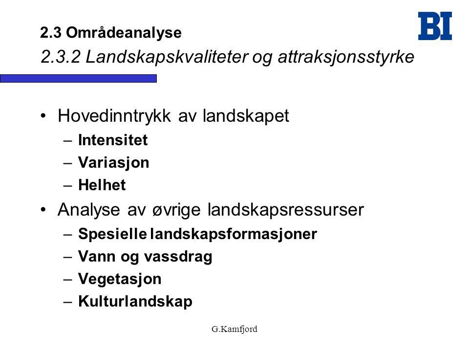 G.Kamfjord 2.3 Områdeanalyse 2.3.2 Landskapskvaliteter og attraksjonsstyrke •Hovedinntrykk av landskapet –Intensitet –Variasjon –Helhet •Analyse av øv