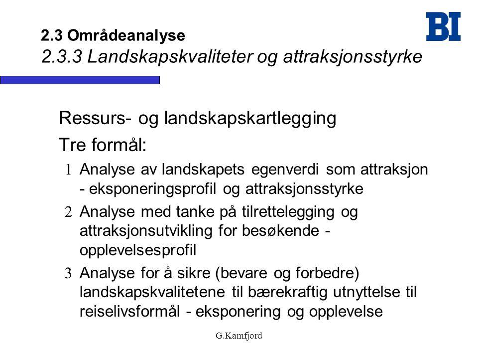 G.Kamfjord 2.3 Områdeanalyse 2.3.3 Landskapskvaliteter og attraksjonsstyrke Ressurs- og landskapskartlegging Tre formål:  Analyse av landskapets egen
