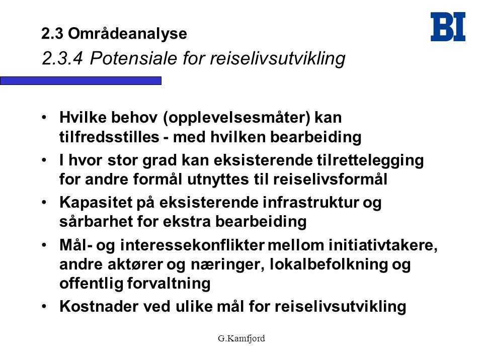 G.Kamfjord 2.3 Områdeanalyse 2.3.4Potensiale for reiselivsutvikling •Hvilke behov (opplevelsesmåter) kan tilfredsstilles - med hvilken bearbeiding •I