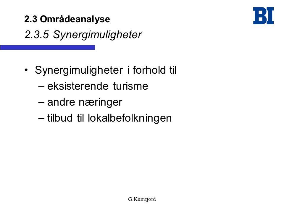 G.Kamfjord 2.3 Områdeanalyse 2.3.5 Synergimuligheter •Synergimuligheter i forhold til –eksisterende turisme –andre næringer –tilbud til lokalbefolknin