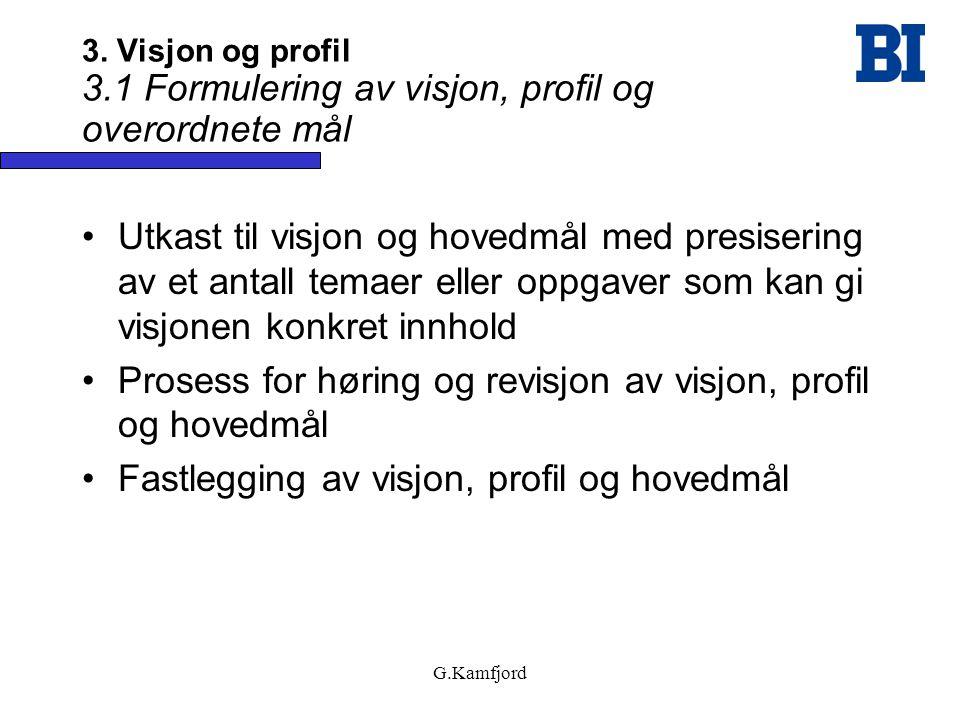 G.Kamfjord 3. Visjon og profil 3.1 Formulering av visjon, profil og overordnete mål •Utkast til visjon og hovedmål med presisering av et antall temaer
