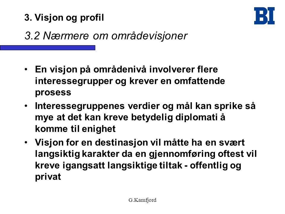 G.Kamfjord 3. Visjon og profil 3.2 Nærmere om områdevisjoner •En visjon på områdenivå involverer flere interessegrupper og krever en omfattende proses