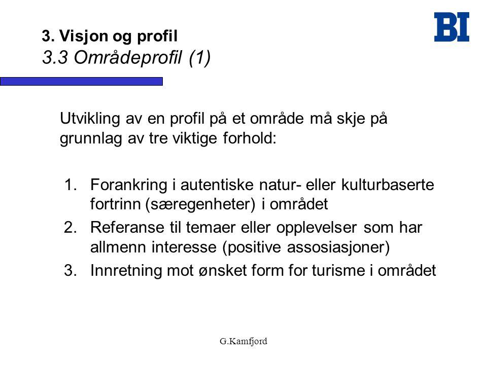 G.Kamfjord 3. Visjon og profil 3.3 Områdeprofil (1) Utvikling av en profil på et område må skje på grunnlag av tre viktige forhold: 1.Forankring i aut
