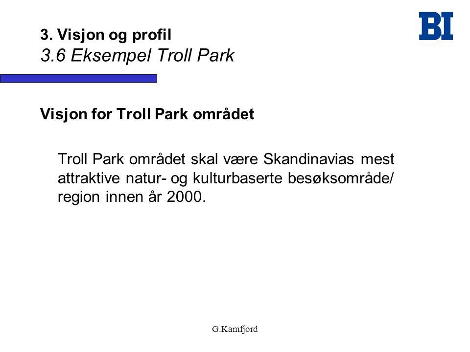 G.Kamfjord 3. Visjon og profil 3.6 Eksempel Troll Park Visjon for Troll Park området Troll Park området skal være Skandinavias mest attraktive natur-