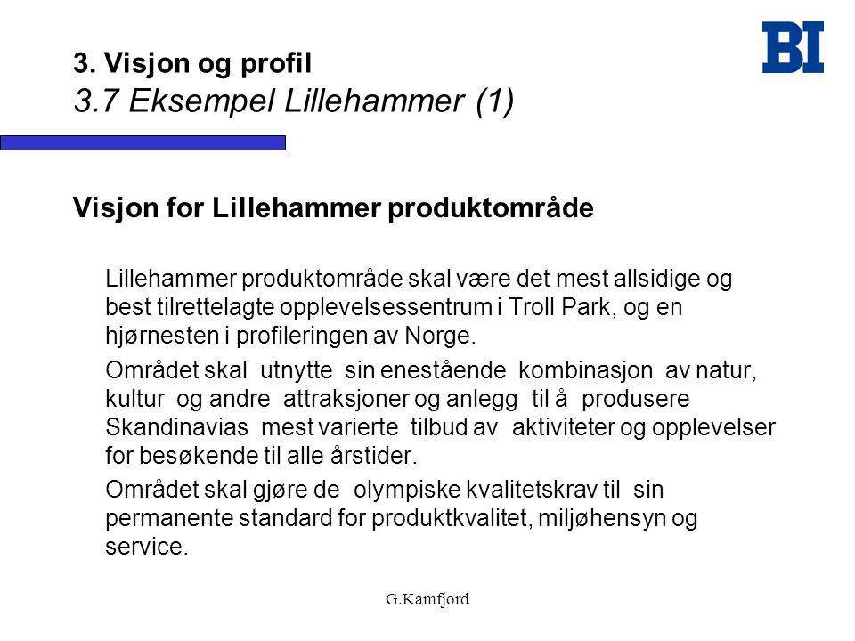 G.Kamfjord 3. Visjon og profil 3.7 Eksempel Lillehammer (1) Visjon for Lillehammer produktområde Lillehammer produktområde skal være det mest allsidig