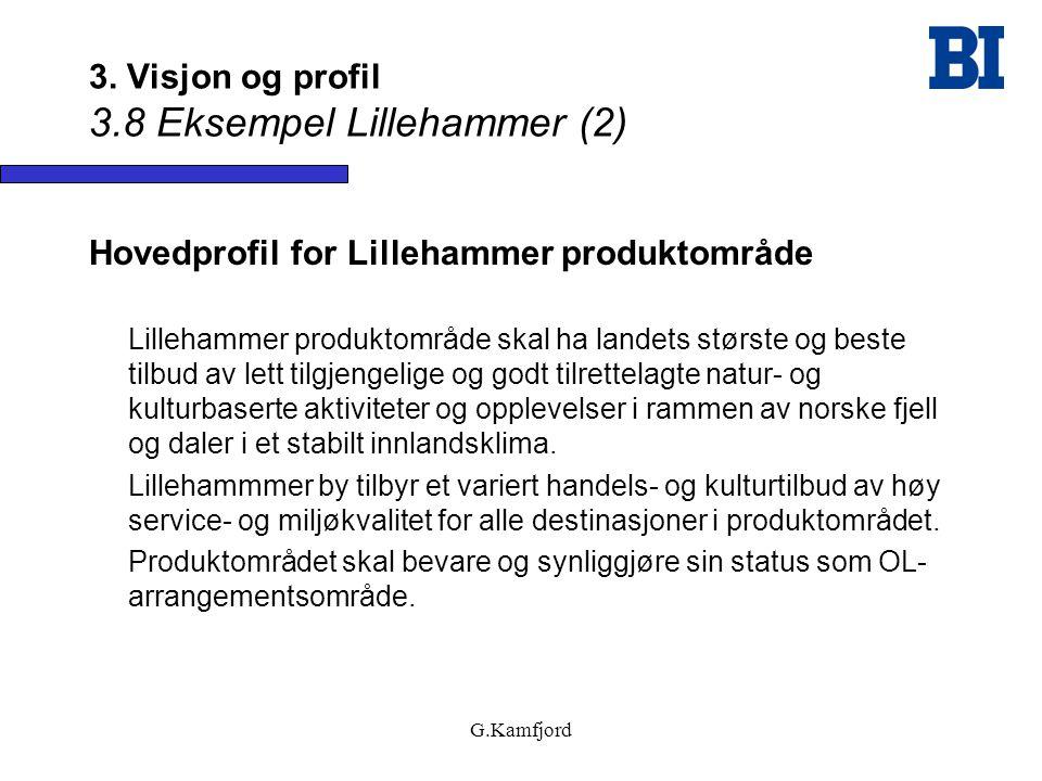G.Kamfjord 3. Visjon og profil 3.8 Eksempel Lillehammer (2) Hovedprofil for Lillehammer produktområde Lillehammer produktområde skal ha landets størst