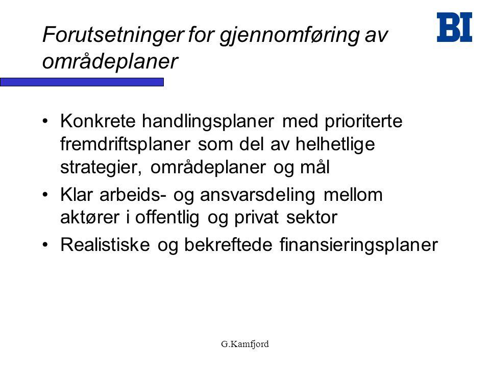 G.Kamfjord Forutsetninger for gjennomføring av områdeplaner •Konkrete handlingsplaner med prioriterte fremdriftsplaner som del av helhetlige strategie
