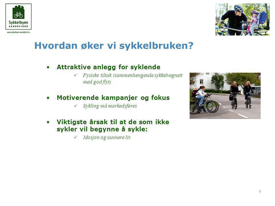 6 •Attraktive anlegg for syklende  Fysiske tiltak (sammenhengende sykkelvegnett med god flyt) •Motiverende kampanjer og fokus  Sykling må markedsføres •Viktigste årsak til at de som ikke sykler vil begynne å sykle:  Mosjon og sunnere liv Hvordan øker vi sykkelbruken