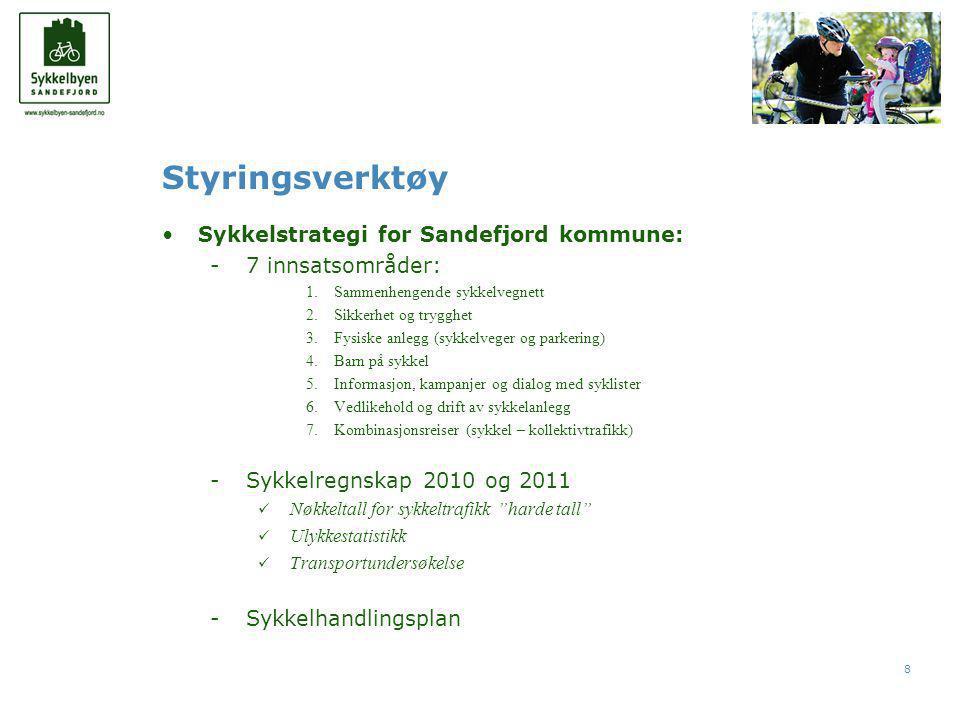 8 Styringsverktøy •Sykkelstrategi for Sandefjord kommune: -7 innsatsområder: 1.Sammenhengende sykkelvegnett 2.Sikkerhet og trygghet 3.Fysiske anlegg (sykkelveger og parkering) 4.Barn på sykkel 5.Informasjon, kampanjer og dialog med syklister 6.Vedlikehold og drift av sykkelanlegg 7.Kombinasjonsreiser (sykkel – kollektivtrafikk) -Sykkelregnskap 2010 og 2011  Nøkkeltall for sykkeltrafikk harde tall  Ulykkestatistikk  Transportundersøkelse -Sykkelhandlingsplan