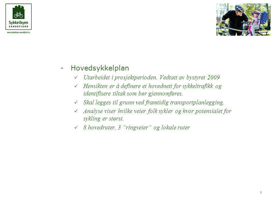 9 -Hovedsykkelplan  Utarbeidet i prosjektperioden.