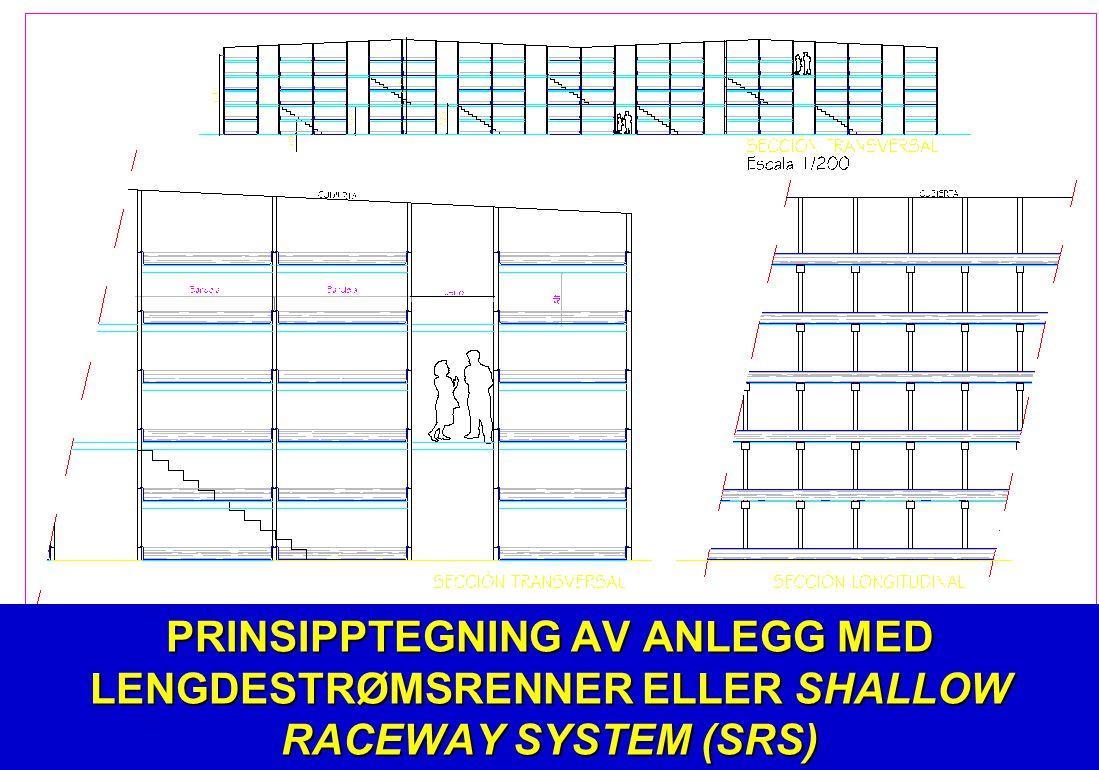 PRINSIPPTEGNING AV ANLEGG MED LENGDESTRØMSRENNER ELLER SHALLOW RACEWAY SYSTEM (SRS)