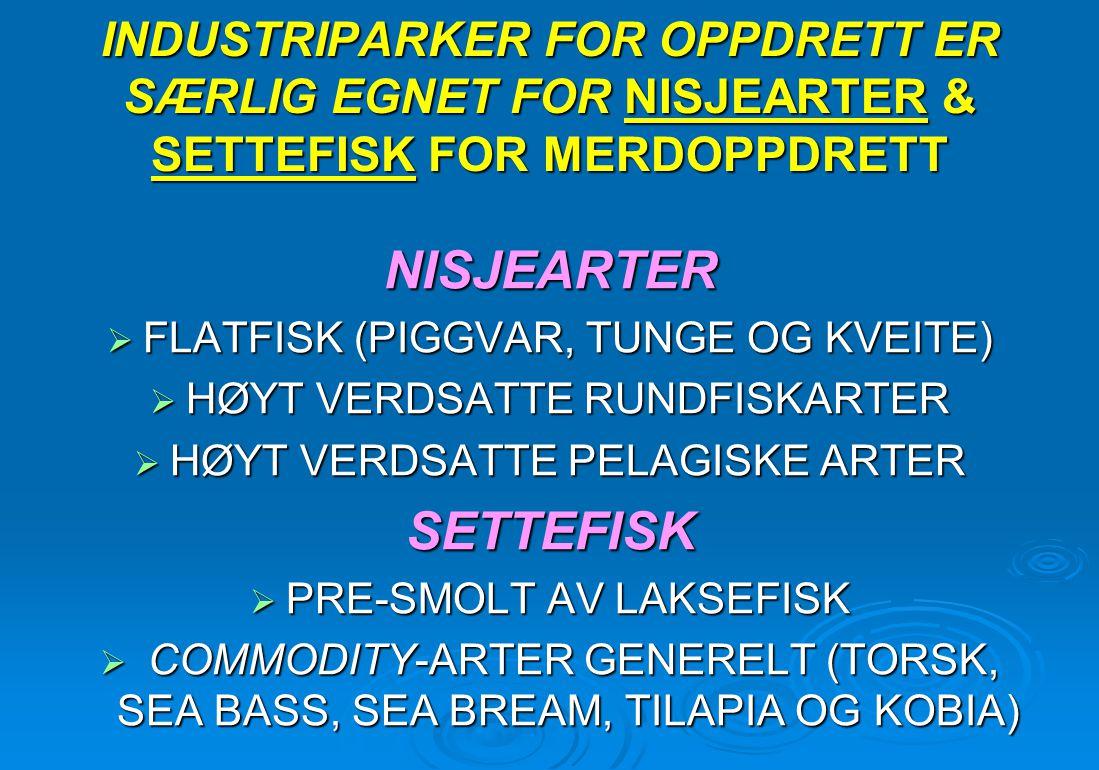 INDUSTRIPARKER FOR OPPDRETT ER SÆRLIG EGNET FOR NISJEARTER & SETTEFISK FOR MERDOPPDRETT NISJEARTER  FLATFISK (PIGGVAR, TUNGE OG KVEITE)  HØYT VERDSA