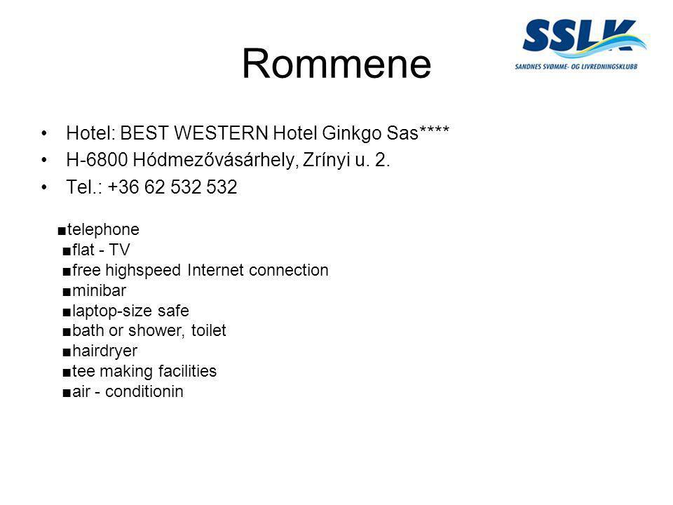 Rommene •Hotel: BEST WESTERN Hotel Ginkgo Sas**** •H-6800 Hódmezővásárhely, Zrínyi u. 2. •Tel.: +36 62 532 532 ■telephone ■flat - TV ■free highspeed I