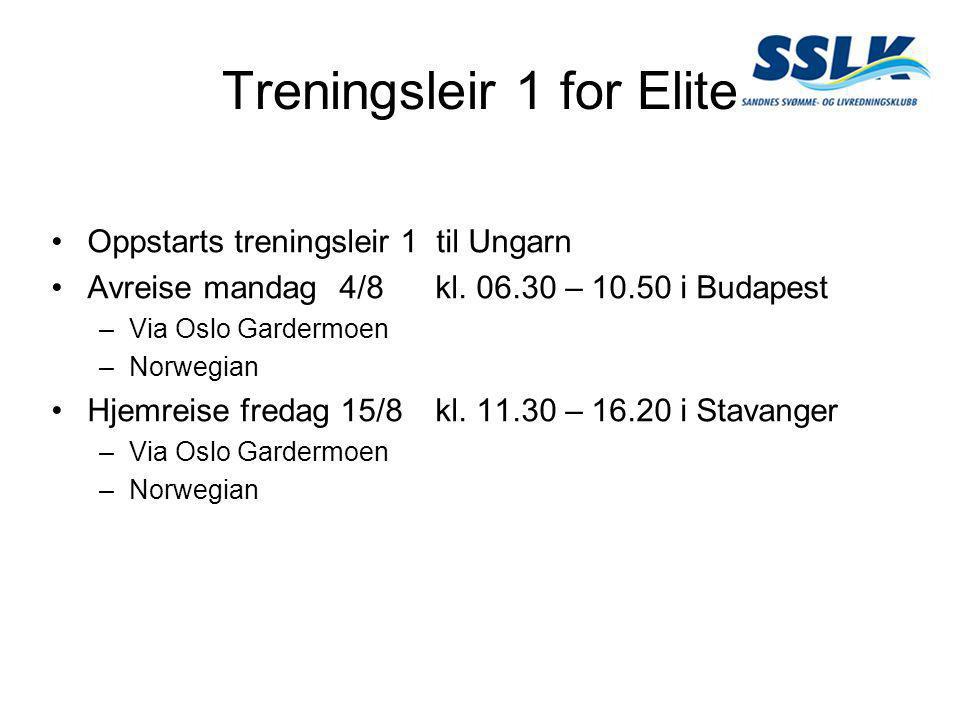 Treningsleir 1 for Elite •Oppstarts treningsleir 1 til Ungarn •Avreise mandag 4/8 kl. 06.30 – 10.50 i Budapest –Via Oslo Gardermoen –Norwegian •Hjemre